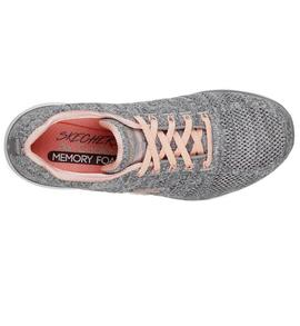 Zapatilla Skechers Gris/Coral Mujer